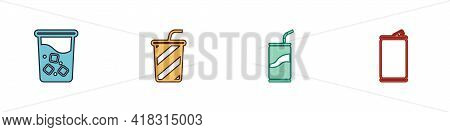 Set Glass With Water, , Soda Can Drinking Straw And Aluminum Icon. Vector