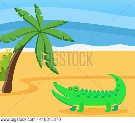 Relax Cute Adorable Crocodile On Sunny Beach. Yellow Sand And Blue Sea. Beautiful Summer Landscape B