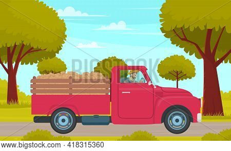 Man Driving Lorry With Potato Harvest On Rural Field Road Against Green Trees. Red Car With Vegetabl