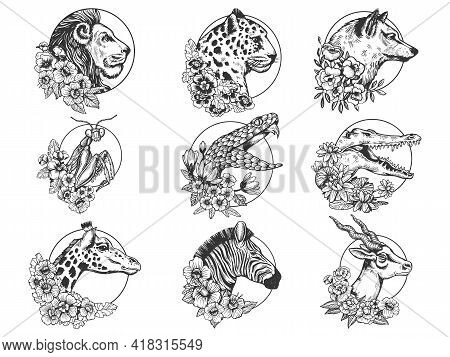 Flowers And Animal Head Set Tattoo With Flowers Sketch Engraving Vector Illustration. T-shirt Appare