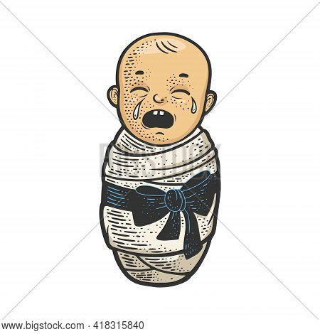 Crying Baby Color Sketch Engraving Vector Illustration. T-shirt Apparel Print Design. Scratch Board