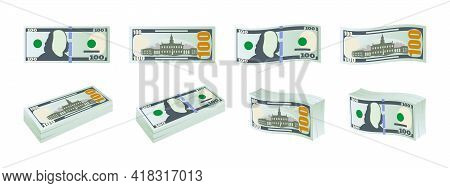 Dollar Banknotes. Hundred Dollar Bills. Money Icons. Dollars Banknotes Set. Vector Illustration