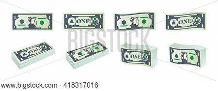 Money Icons. Dollar Banknotes. One Dollar Bills. Dollars Banknotes Set. Vector Illustration