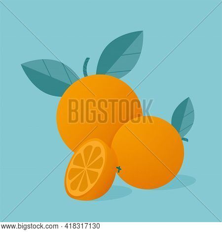 Modern Vector Illustration Of Oranges. Oranges Whole And Slices Of Orange With Leaves Isolated On Bl