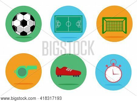 Set Of Soccer, Football Vector Icons. Modern Solid Symbol Collection. Collection Includes Football B