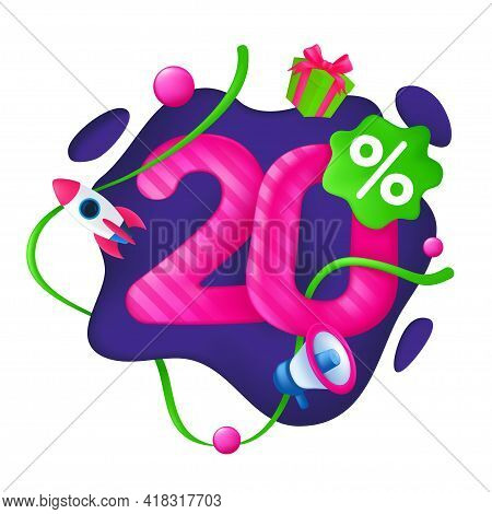 20 Percent Discount Price Tag. 20% Special Offer Promotion Label. Sale Badge With Advertising Symbol