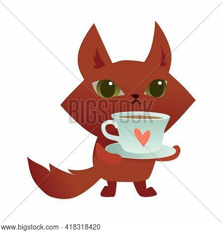 Cute Cartoon Cat Holding A Cup Of Coffee Or Tea With A Hand Drawn Heart. Vector Illustration