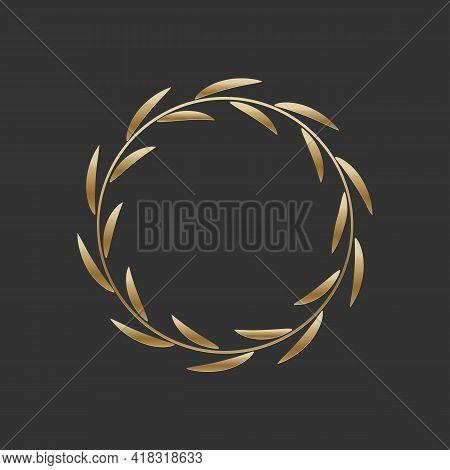 Golden Laurel Wreath Round Frame. Ring With Gold Leaves, Circle Award Logo Or Emblem Vector Illustra