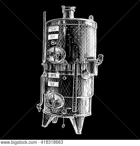 Stainless Steel Tank For Wine Storage And Blending. Black Line Drawing Isolated On White Background