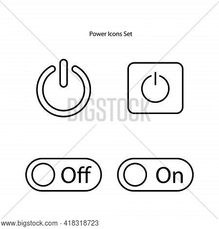 Power Button Icon Set Isolated On White Background. Power Button Icon Thin Line Outline Linear Power