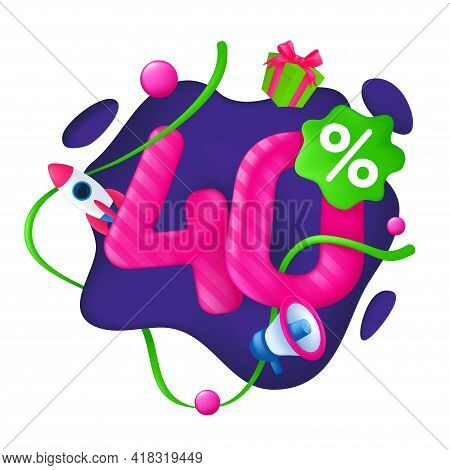 40 Percent Discount Price Tag. 40% Special Offer Promotion Label. Sale Badge With Advertising Symbol
