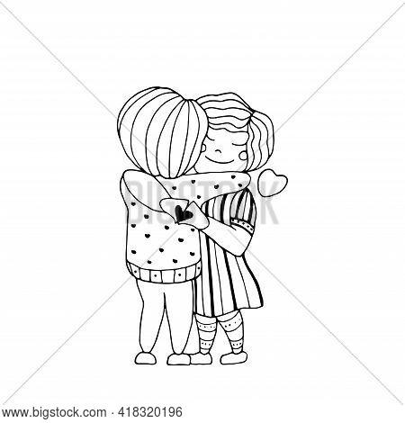 Romance Banner Couple Hugs. Love Hands Heart. Vector Cartoon Postcard.