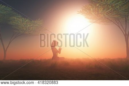 3D render of a female in yoga pose in sunset landscape