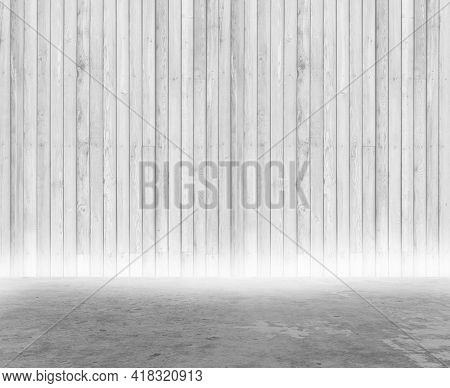 3D render of a grunge style room interior with wood walls and concrete floor