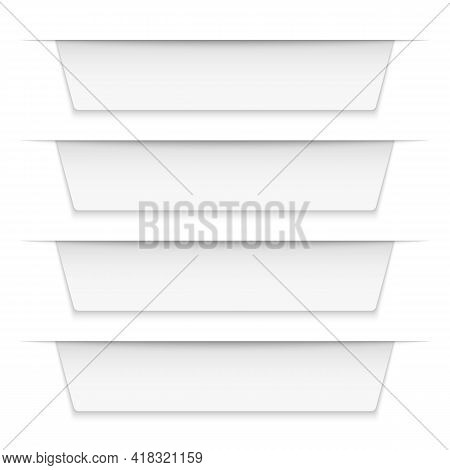 Tabbed Labels White. Infographic Banners Leaflet Template, Blank Infographics Ribbon Tags. Empty Bad