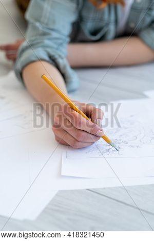 Art Class. Drawing Skill Improvement. Creative Occupation. Female Artist Hand Sketching Illustration