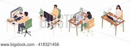 Isometric Online Education. Man And Woman Sitting At Computer, Back And Face View, Personal Workplac