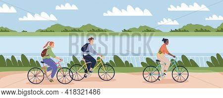 Cyclists People Outdoor. Happy Young Man And Women On Bike Ride In Park, Bicycles Persons Drive Emba