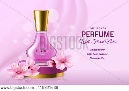 Realistic Perfume Glass Bottle. Women Pink Luxury Sakura Essence In Elegant Vial, Delicate Floral Fr