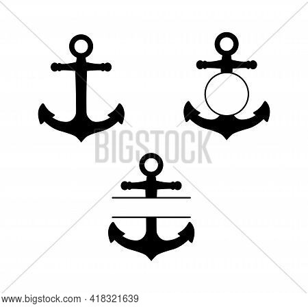 A Set Of Anchors. Round Monogram And Flat Monogram. The Anchor's Silhouette Is Black.