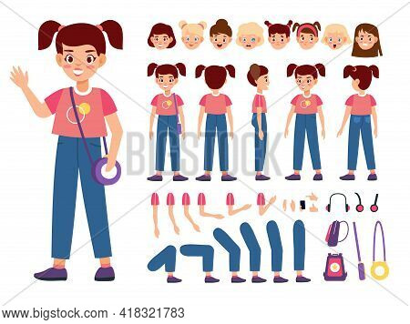 Child Constructor. Happy Girl With Additional Body Parts And Accessories, Kid Emotions And Hairstyle