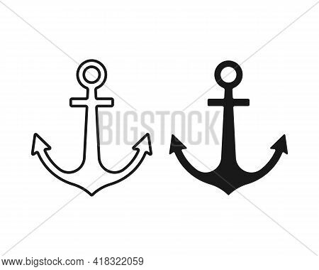 Anchor Vector Icon Set. Naval Marine Symbol Collection. Sailing And Maritime Sign Logo. Silhouette S