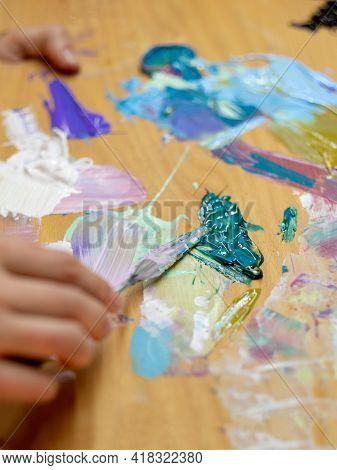 Painter Work. Art Process. Professional Artist. Artistic Equipment. Unrecognizable Female Hand Mixin