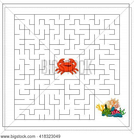 A Maze Game For Kids. Guide The Crab Through The Maze To The Coral. Vector Isolated On A White Backg