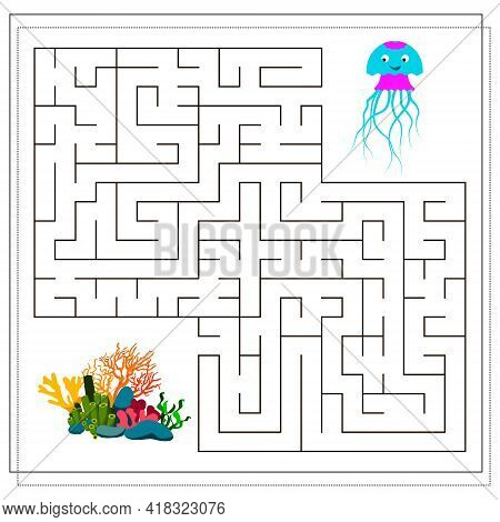 A Maze Game For Kids. Guide The Jellyfish Through The Maze To The Corals. Vector Isolated On A White