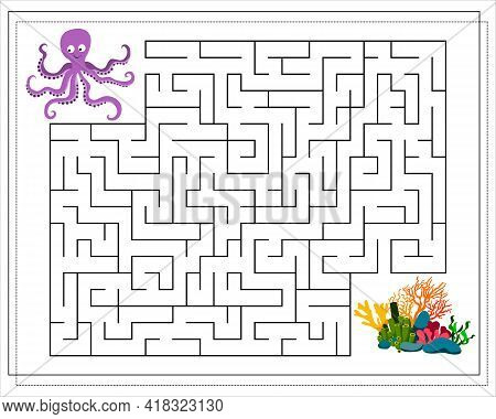 A Maze Game For Kids. Guide The Octopus Through The Maze To The Corals. Vector Isolated On A White B