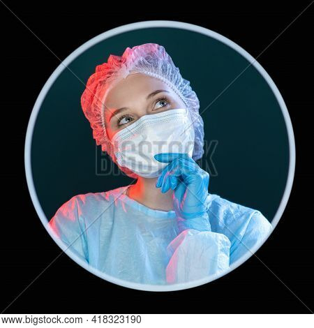 Thoughtful Doctor. Medical Research. Treatment Solution. Headshot Portrait Of Daydreaming Female Nur