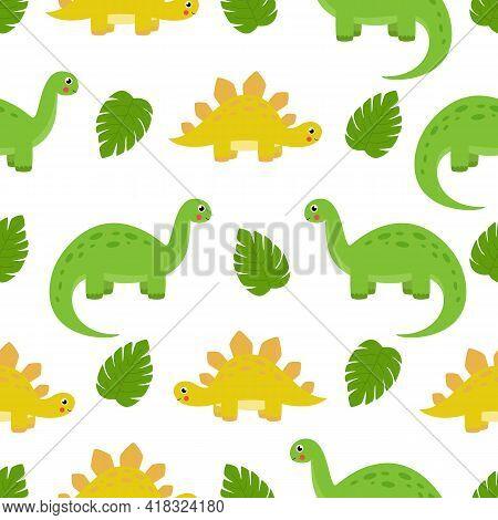 Seamless Pattern With Cute Dinosaur Brontosaurus And Stegosaurus On White Background.