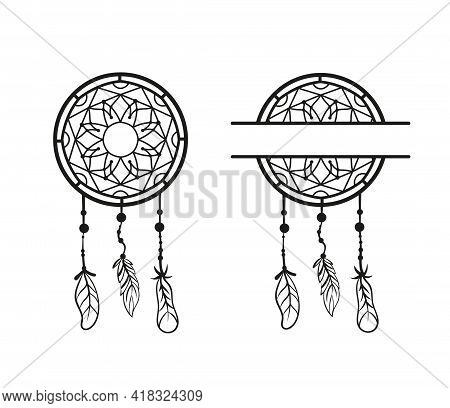 Hand Drawn Vector Beautiful Dream Catcher With Feathers. Black And White Sketch. Boho Style. Dream C