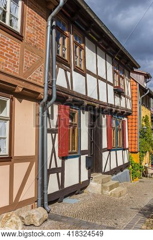 Little Historic Half Timbered House In The Center Of Quedlinburg, Germany