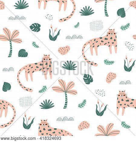 Cute Panther. Wild Cat Pattern Pink Panther Jungle Cat Textile Design. Hand Drawn Safari Cheetah. Se