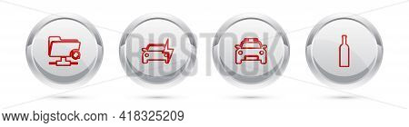 Set Line Ftp Sync Refresh, Electric Car, Police And Flasher And Bottle Of Wine. Silver Circle Button