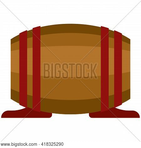 Barrel Vector Whiskey, Wine Or Beer Wood Cask On White