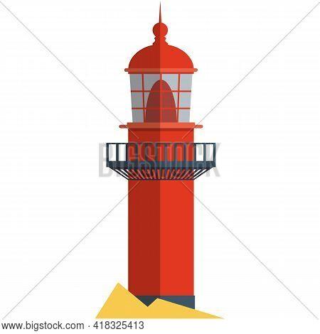 Vector Lighthouse Illustration Beacon Hope Symbol On White
