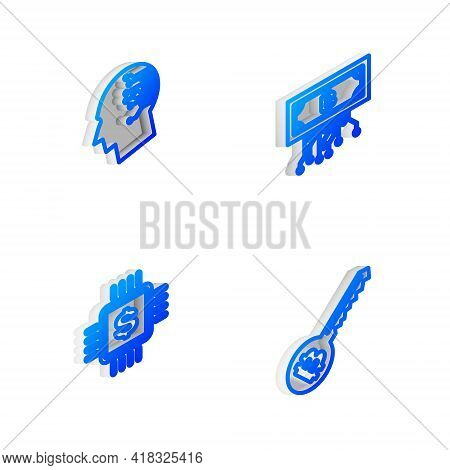 Set Isometric Line Cryptocurrency Bitcoin With Circuit, Brain As Digital Board, Processor Chip Dolla