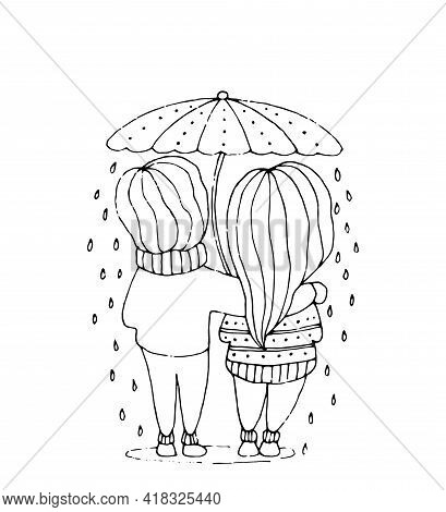 Romance Love Banner. Loving Couple Under Umbrella In Rain. Vector Black And White Line Cartoon.