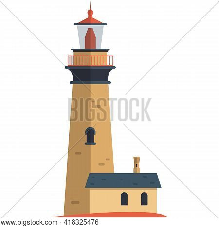 Vector Lighthouse Illustration Beacon With Annexe Building