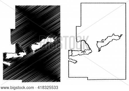 Green Lake County, State Of Wisconsin (u.s. County, United States Of America, Us) Map Vector Illustr