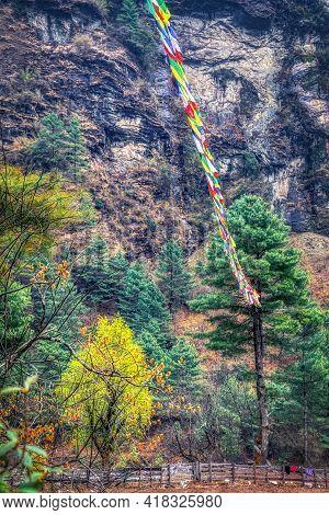 Buddhist Symbolism On The Track To Everest, Himalayas, Nepal