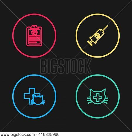 Set Line Veterinary Clinic, , Syringe With Pet Vaccine And Clinical Record Icon. Vector