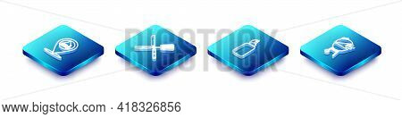 Set Isometric Line Location With Barbecue, Crossed Knife And Spatula, Mustard Bottle And Barbecue Gr