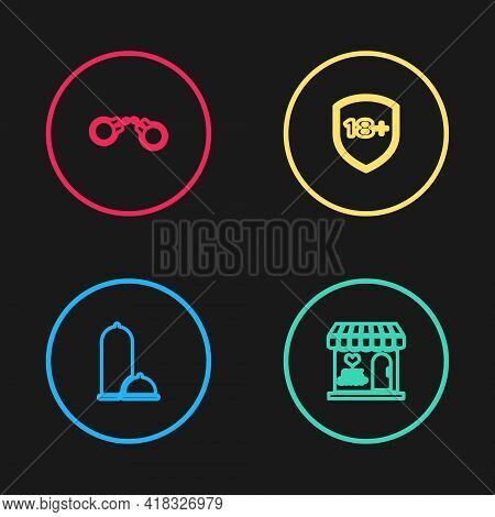 Set Line Condoms Safe Sex, Sex Shop Building, Shield With 18 Plus And Handcuffs Icon. Vector