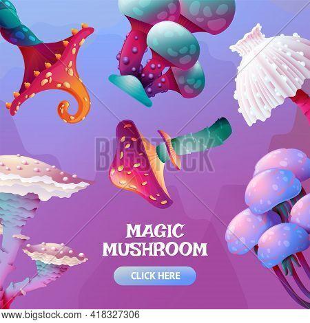 Colorful Fantasy Magic Mushroom Banner Template On Square Background. Cartoon Fungus And Unrealistic