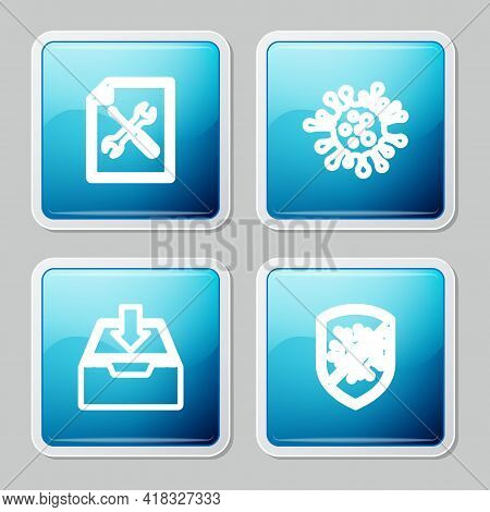 Set Line File Document Service, Bacteria, Download Inbox And Stop Virus, Bacteria Icon. Vector