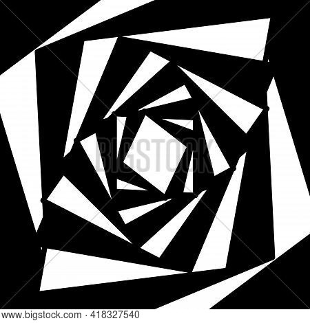 Graphic Shapes Square Swirling In Loop. Black And White Shapes That Create Illusion Of Movement.