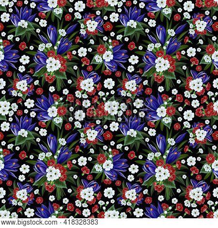 Illustration Of Floral Pattern With Crocus And Primrose On Black Background